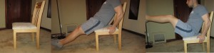 Chair crunch exercise