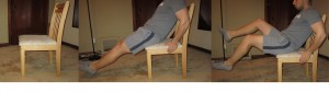 Chair-Bicycle crunch exercise