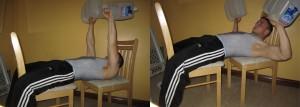 Dumbbell(water bottle) chair press